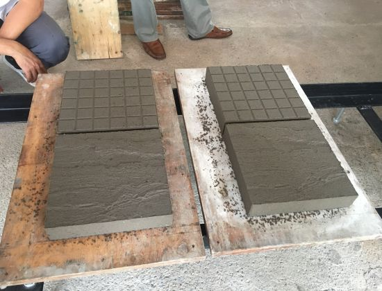 SOME SAMPLES OF PRODUCTION TILES FROM BRICKING MACHINE